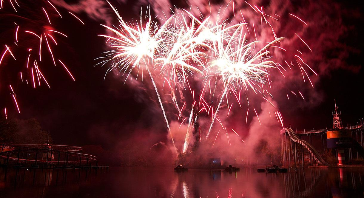 Fireworks reflected over the lake at Drayton Manor park