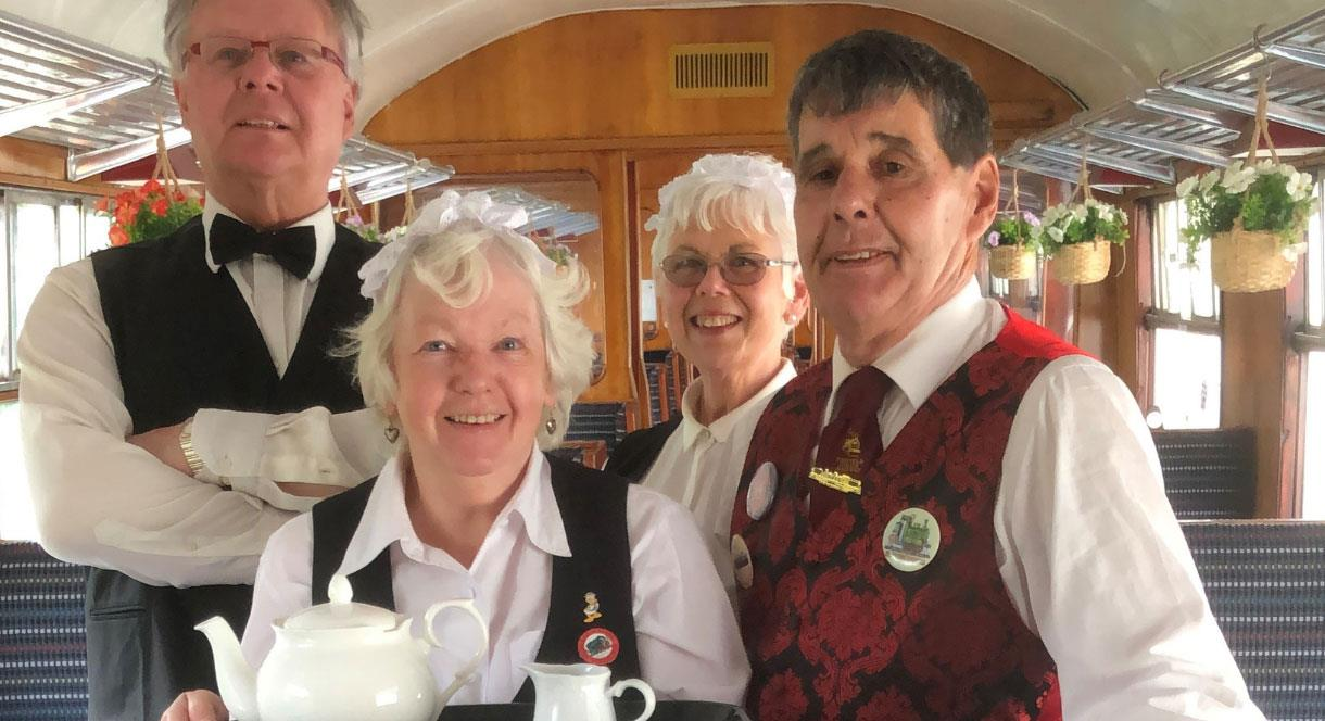 Welcome on board the train for your afternoon cream tea experience at Foxfield Railway