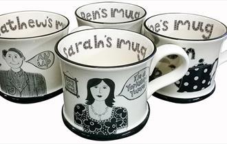 Mugs made by Moorland Pottery
