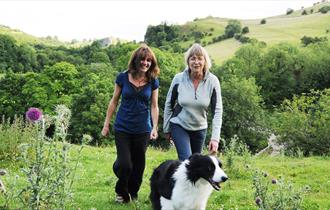 Walking with a dog in the Manifold Valley, Peak District, Staffordshire.