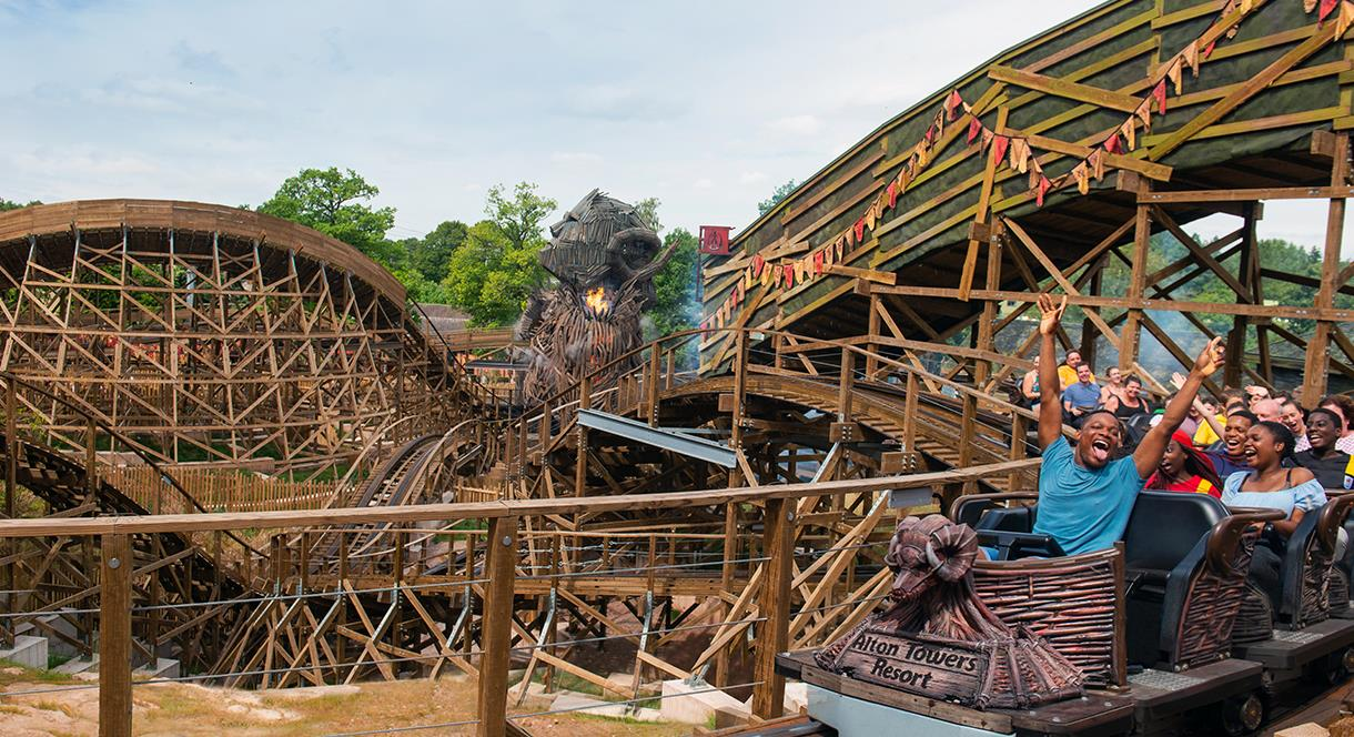 Wicker Man wooden rollercoaster at Alton Towers resort, Staffordshire, England.