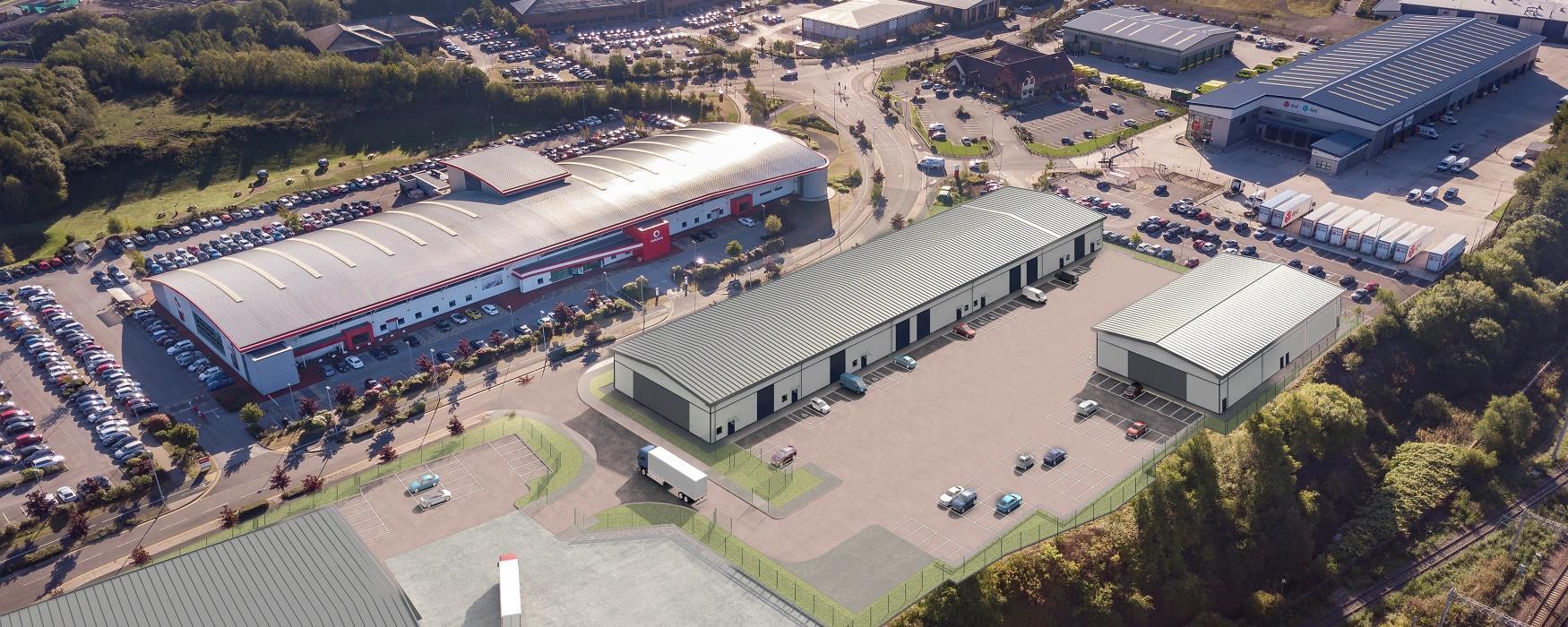 Aerial CGI of Etruria Valley Trade Park Unit