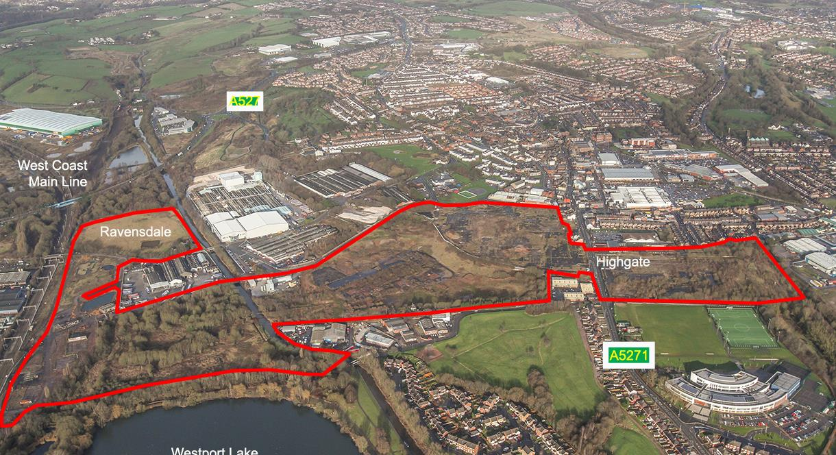 Aerial Photograph of the Highgate and Ravensdale sites in Tunstall Stoke-on-Trent, part of the Ceramic Valley Enterprise Zone.