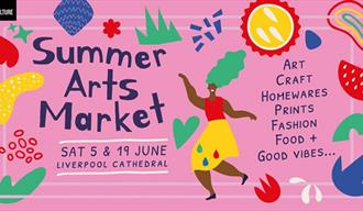 Summer Arts Market poster on a pink background with drawings and shapes.