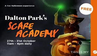Scare Academy at Dalton Park - image of a girl sitting on a pumpkin dressed as a witch.