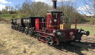 Image of the Coffee Pot locomotive on The Colliery Railway in The 1900s Pit Village
