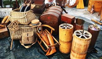 Collection of antique containers and boot trees