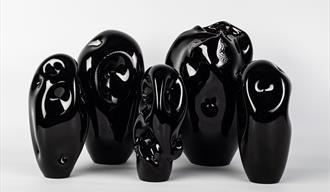 Black Glass Sculptures: Unease by Grace Sharp