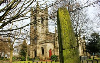 The Saxon Cross at Stoke Minster part of the Two Saints Way