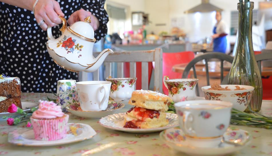 Tea and cake at Dotty's Tea Garden in Coulsdon, Surrey