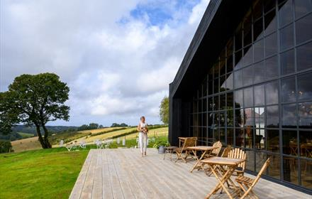 The Barn at Botley Hill wedding venue with Surrey Hills view.   Photo: The Barn at Botley Hill/Hayley Bray