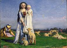 Lady with a Baby feeding lambs