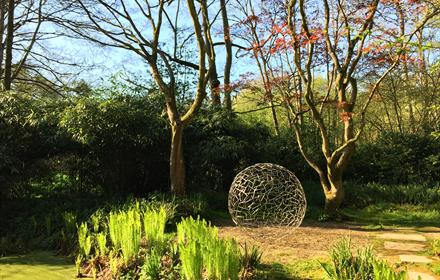 The Hannah Peschar Sculpture Garden - 'Enclosed Space' Rob Harding - evening light