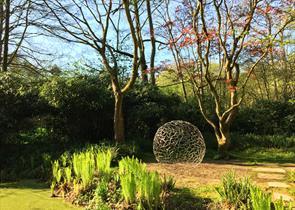 The Hannah Peschar Sculpture Garden - 'Enclosed Space' Rob Harding - evening light