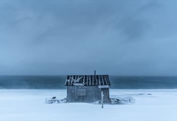 A cabin along the shoreline