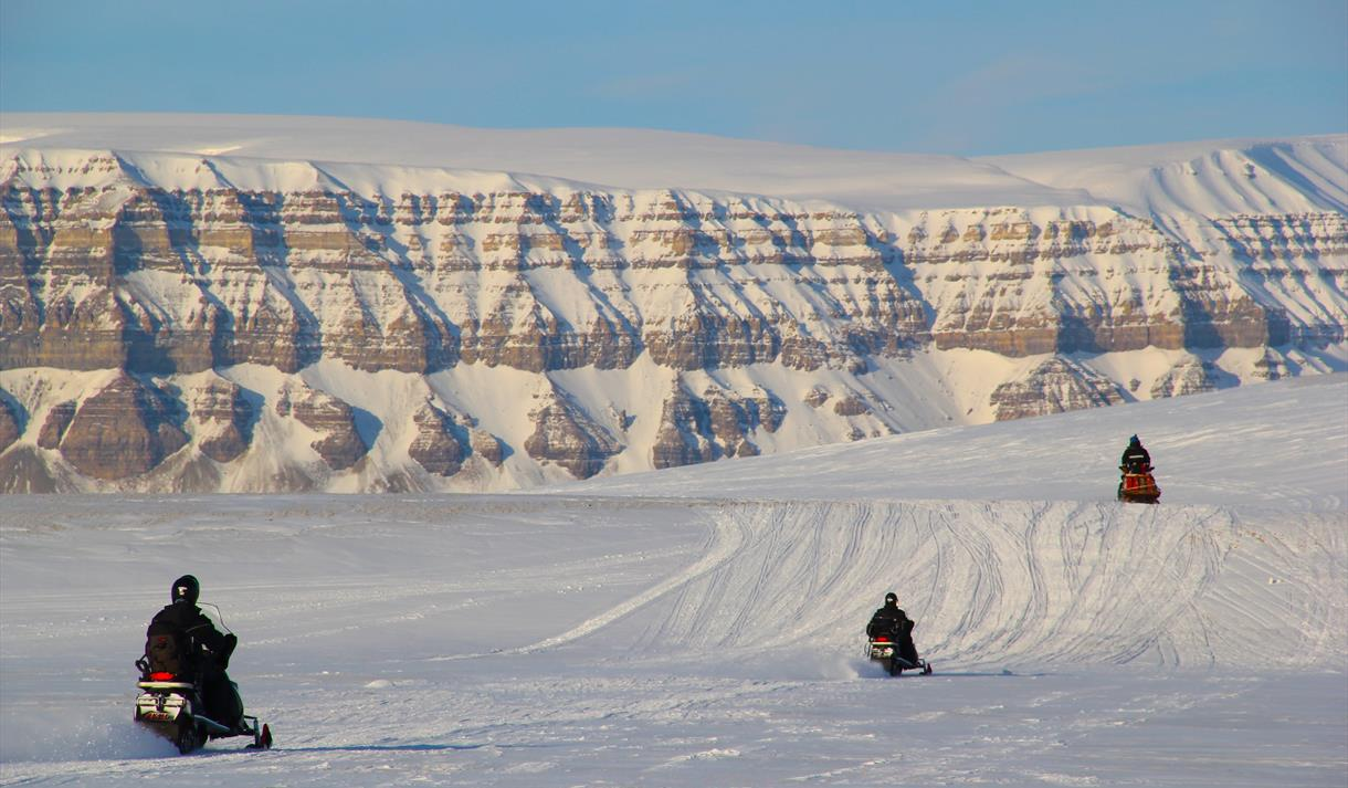 Guests driving snowmobiles
