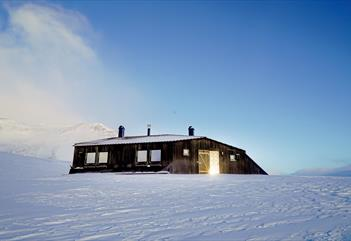 Krekling Lodge in snowy surroundings