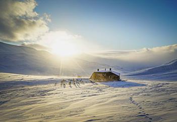Krekling Lodge i vinterlandskap opplyst av sola