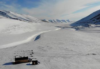 Hytta Reinheim på vinterstid med flere hundespann parkert utenfor