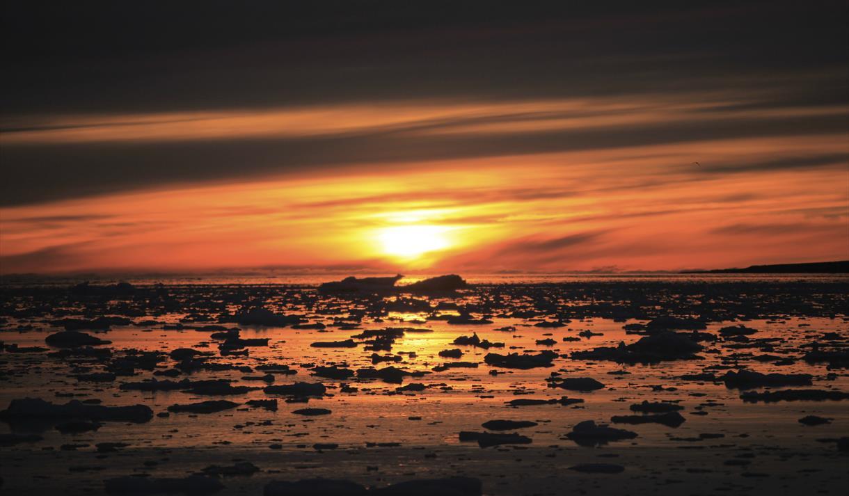 Midnight sun at Svalbard