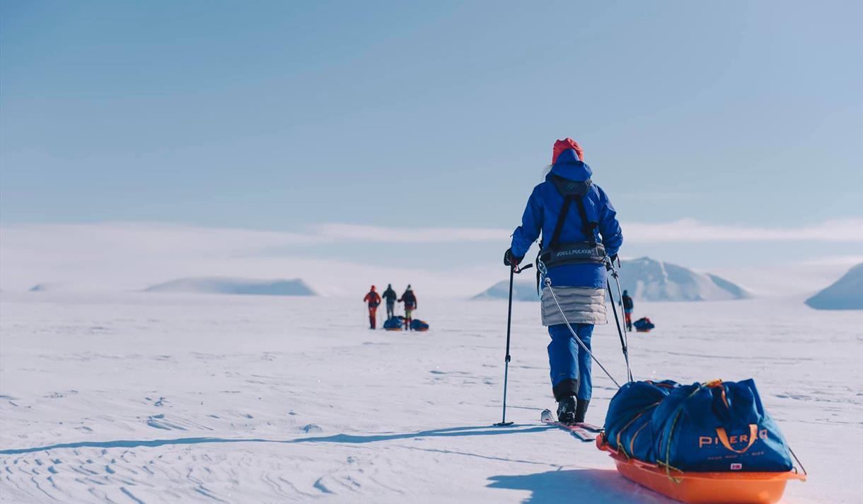 En person på ski som drar en pulk i forgrunnen, med tre personer på ski i bakgrunnen