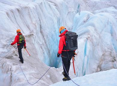 Guests on a glacier hike