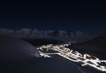 Longyearbyen in the polar night