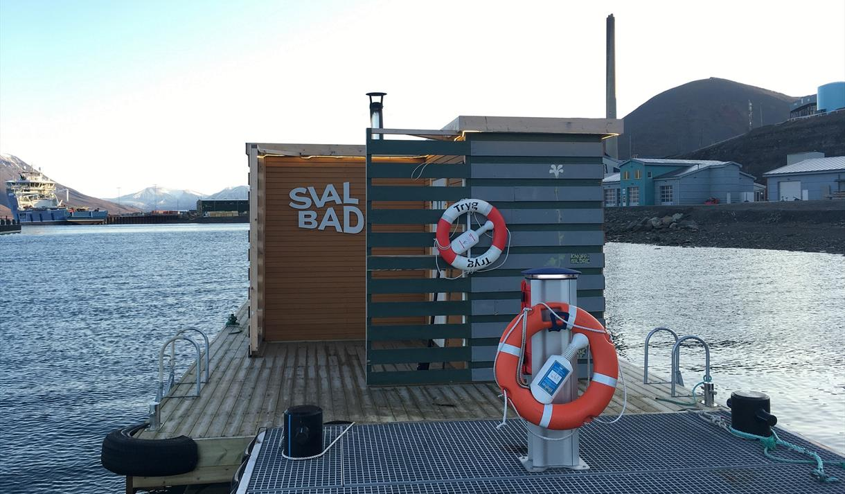 SvalBad floating at the end of the quay in the port
