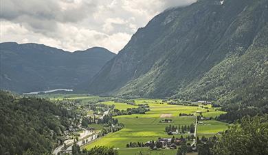 """utsikt fra utsiktspunktet på sykkelveien """"Opplevelsesvegen"""" i Seljord"""