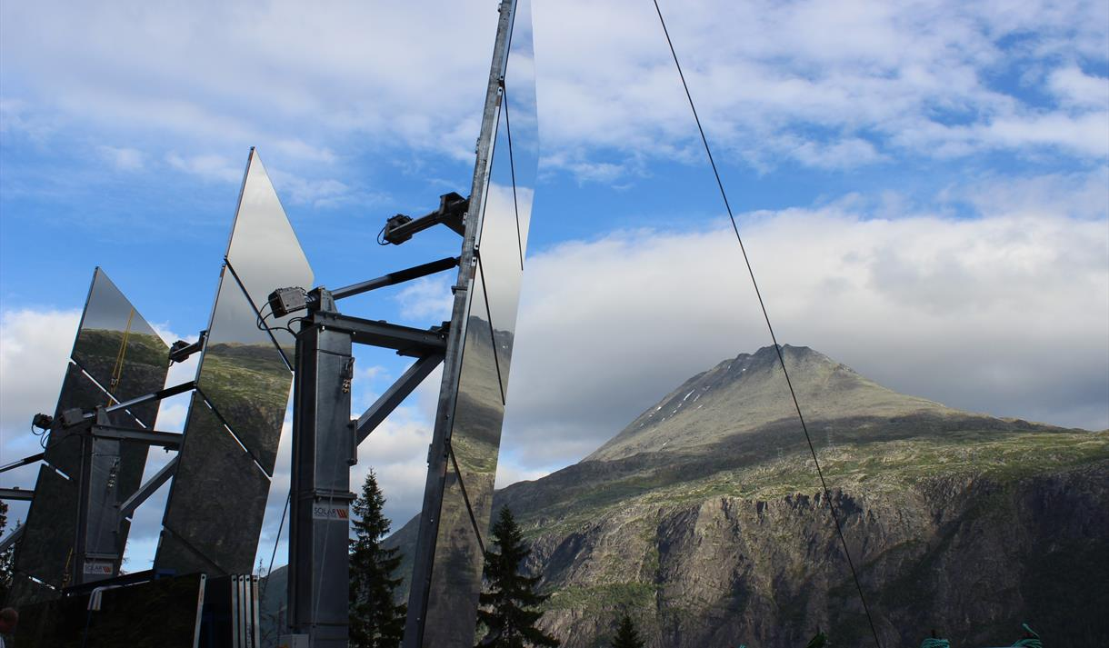 The sunmirror in Rjukan provides sun to the townspeople in wintertime.