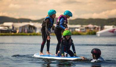 children at Norsjø Cable Park at Norsjø holiday land in Akkerhaugen