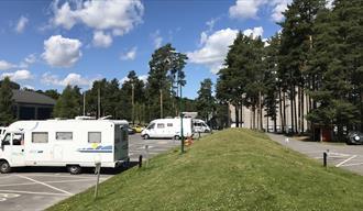 motorhomes at motorhome parking in Skien leisure park