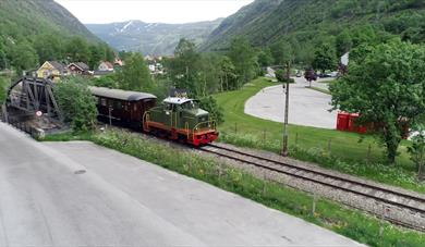 Old train working as a museum train during summer.