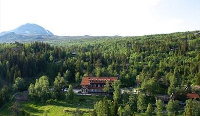 Tuddal Høyfjellshotel om sommeren med Gaustatoppen i bakgrunn