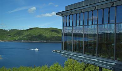 "View from Hardangervidda National Park Center towards Møsvatn with ""Fjellvåken"""
