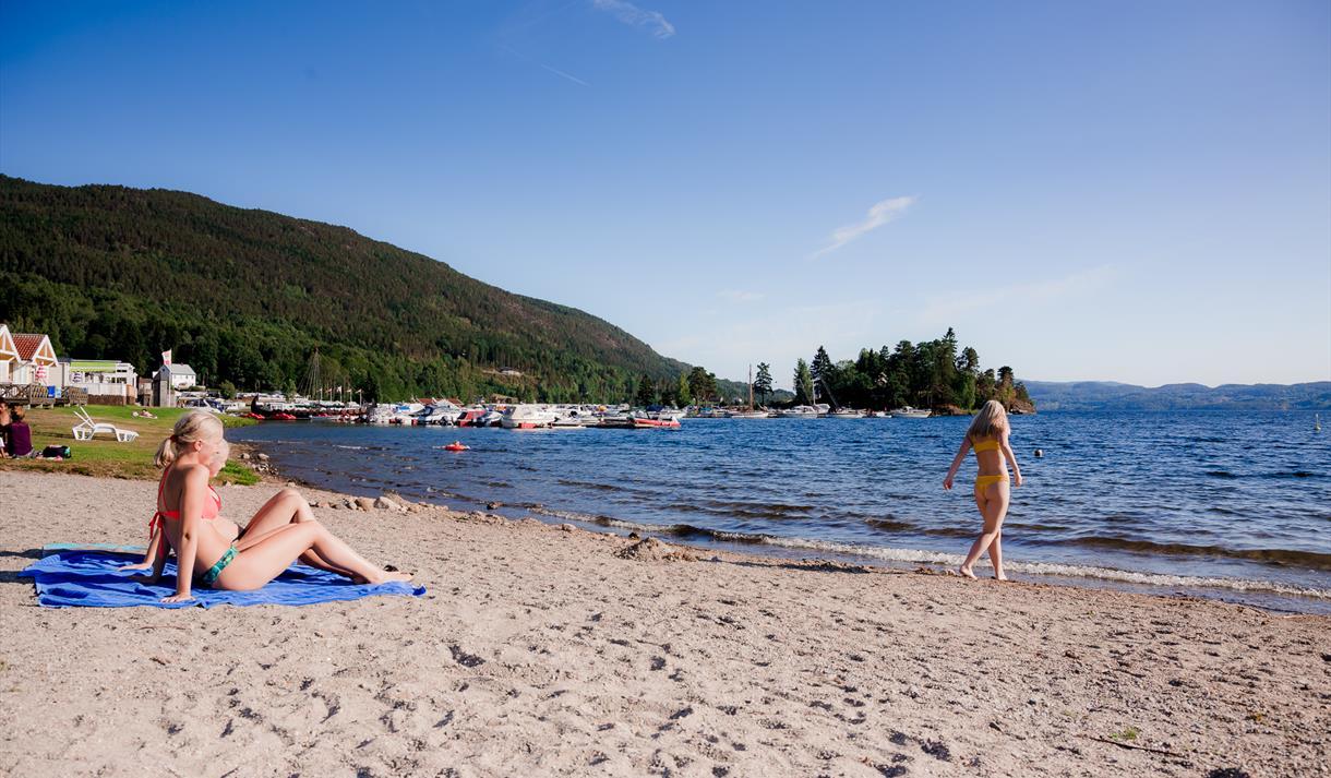 sandy beach at Norsjø Ferieland