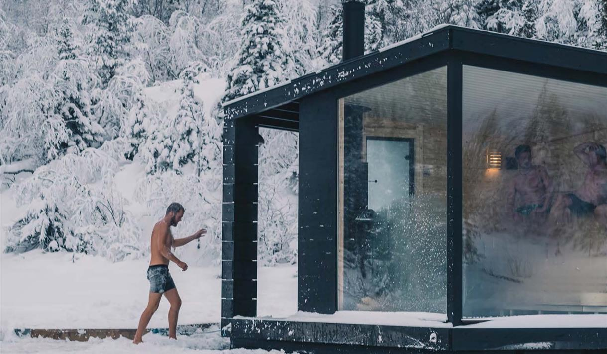 Two floating saunas are available at Gausta. They are situated with beautiful view towards Gaustatoppen.