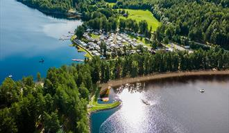 drone image from Telnessanden camping