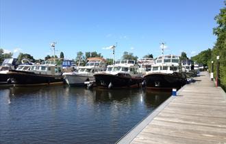 Boats on berths at Shepperton Marina