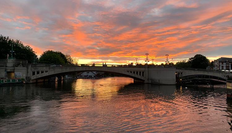 View of Caversham Bridge at sunset.