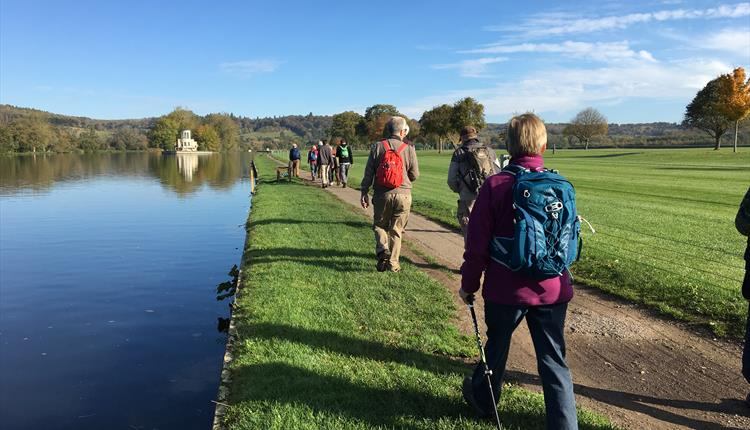 Walkers along the Henley Regatta Course on the Thames Path.