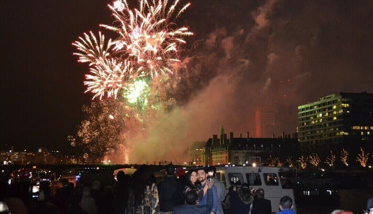 View of New Year's Eve fireworks from City Cruises
