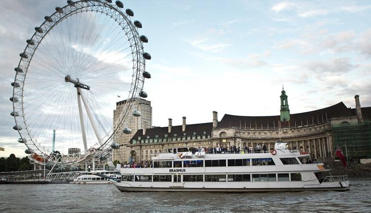 City Cruises boat in front of the London Eye