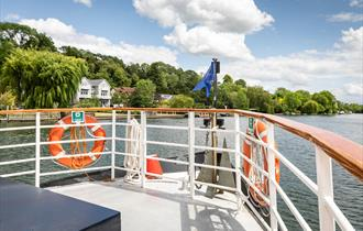 View of the River Thames from the deck of Caversham Lady.