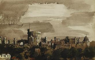 John Piper - Distant View of Windsor Castle from the North 1942 - c The Piper Estate-DACS 2021 c Ashmolean Museum