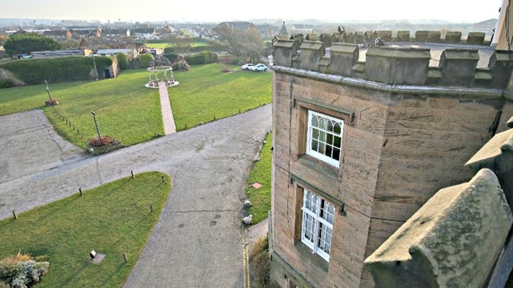 Exterior of Leasowe Castle with views of Leasowe Golf Course.