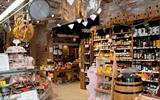 Inside the Lunya store filled with wines, meats and other deli goods.