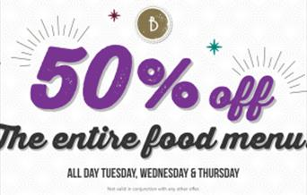 We want you to try us out so we are giving you 50% off the entire food menu Tuesday/Wednesday/Thursday all day and night! We are an independent busine