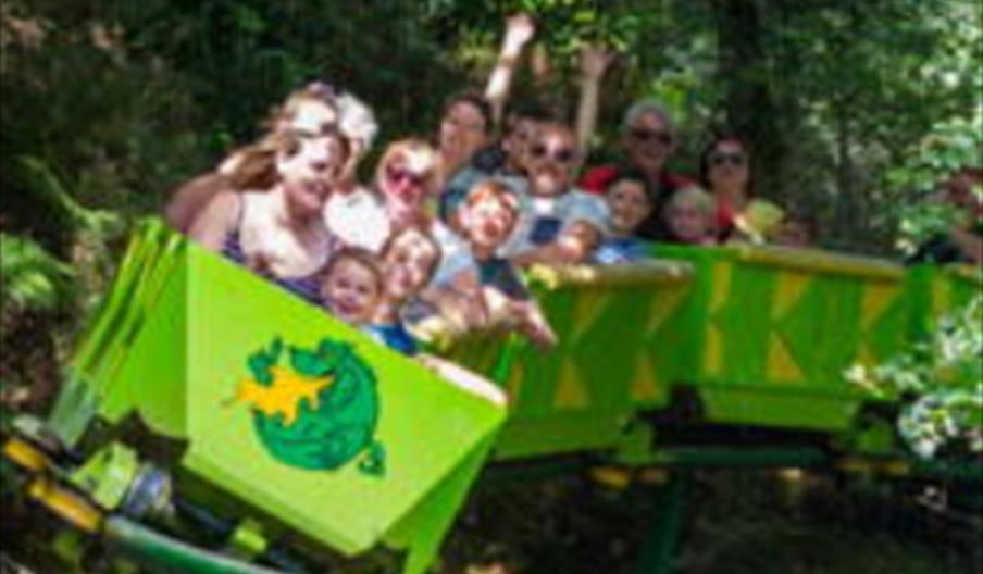 Take a ride on the unique Green Dragon Family Roller Coaster, the world's only people powered coaster.