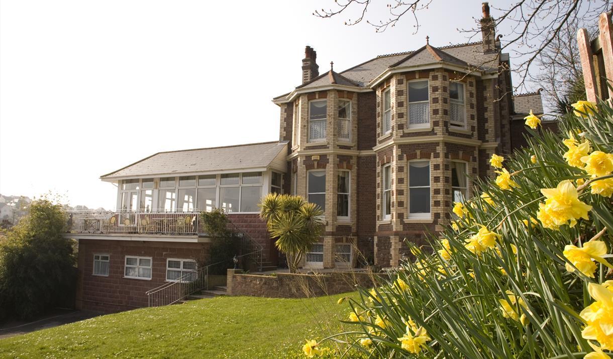 Summerhill Hotel front lawn view in Paignton Devon